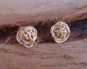 Gold Knot Stud Earrings, Small Gold Stud Earring, Wire Ball Post Earrings, Gold Earring Studs, Gold Stud Earrings, Knot Stud Earrings