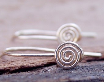 Spiral Classic Earrings, Gold Dainty Earrings, Gold Delicate Earrings, Spiral Earrings