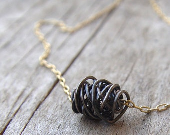 Simple Wire Wrapped Necklace, Oxidized Sterling Silver and 14k Gold Filled