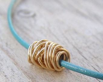 Gold Wire Ball on a Teal Leather Necklace, Gold Necklace, Leather Necklace