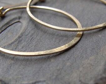 Large Gold Hoop Earrings, Hammered Gold Hoop Earrings, Gold Hoop Earrings, Simple Hammered Hoops