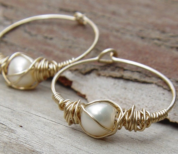 small thin gold hoop earrings wire wrapped pearl hoops small gold hoop earring gold hoop 2917