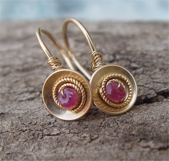 Gold Filled Domed Discs and Tourmaline Earrings