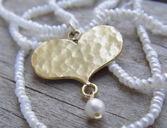 Gold Heart and Tiny Fresh Water Pearls Necklace, 14K Gold Filled - READY TO SHIP