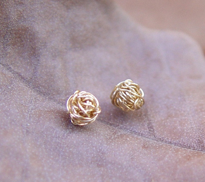 Gold Knot Stud Earrings Gold Stud Earrings Tiny Wire Ball