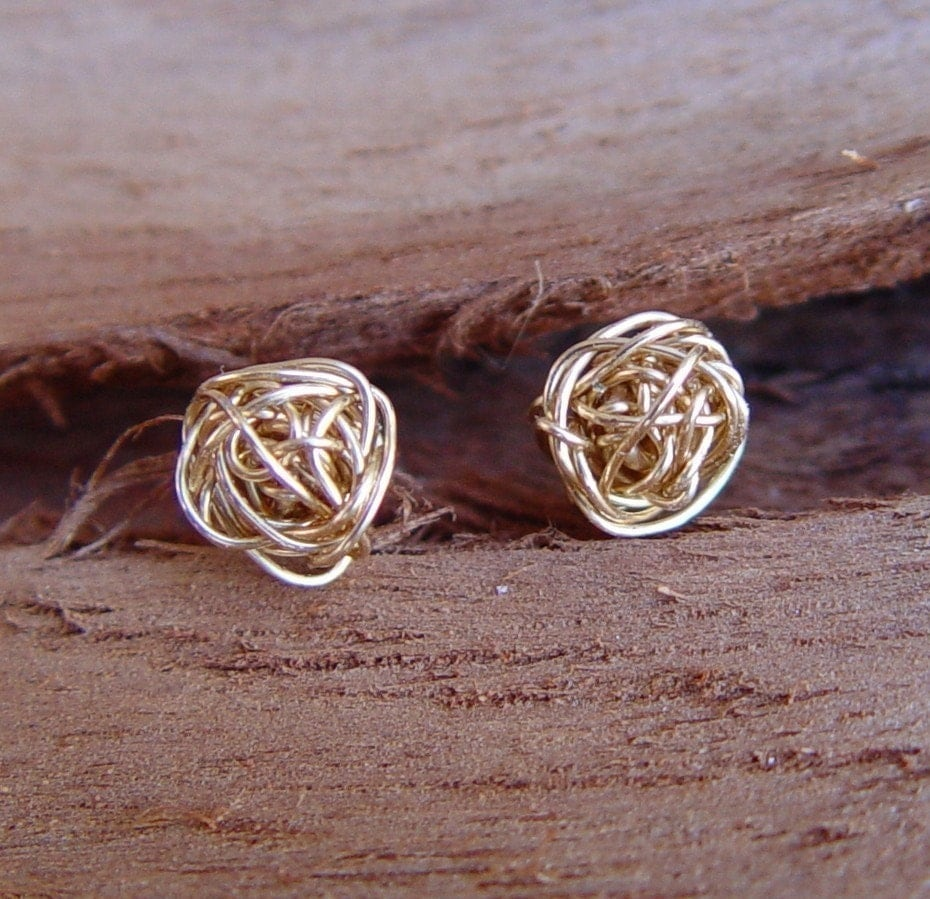 Gold Knot Stud Earrings Small Gold Stud Earring Wire Ball