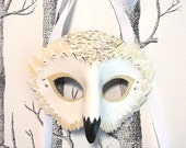 Snowy Owl Leather Mask - Adult Size Made to Order ECO-FRIENDLY Holiday
