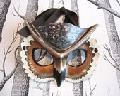 Horned Owl Leather Mask, Adult Size - Made to Order ECO-FRIENDLY Holiday