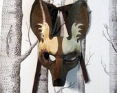 African Painted Dog Leather Mask, Adult Size - Made to Order ECO-FRIENDLY Holiday