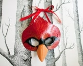 Cardinal Leather Mask, Child Size - Made to Order ECO-FRIENDLY Holiday