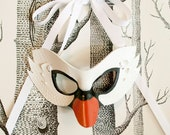 White Swan Leather Mask, Child Size - Made to Order ECO-FRIENDLY Holiday
