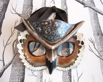 Horned Owl Leather Mask, Child Size - Made to Order ECO-FRIENDLY Holiday