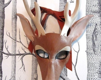 Buck Leather Mask, Child Size - Made to Order ECO-FRIENDLY Holiday