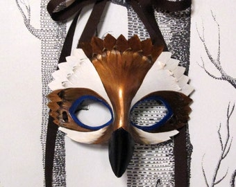 Kookaburra Leather Mask, Child Size - Made to Order ECO-FRIENDLY Holiday
