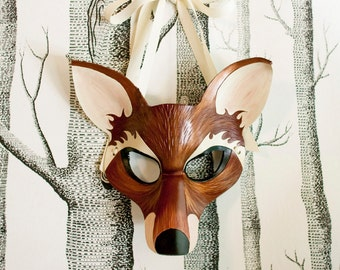 Fox Leather Mask, Child Size - Made to Order ECO-FRIENDLY Christmas
