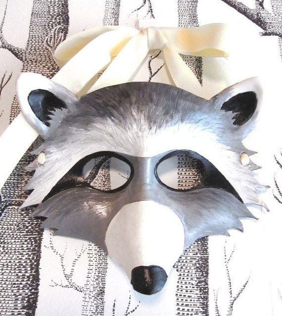 Raccoon Leather Mask, Adult Size - Made to Order ECO-FRIENDLY Holiday