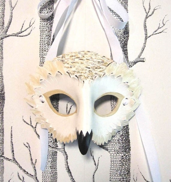 Snowy Owl Leather Mask, Child Size - Made to Order ECO-FRIENDLY Christmas