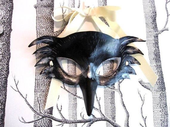 Raven Leather Mask, Adult Size - Made to Order ECO-FRIENDLY Holiday