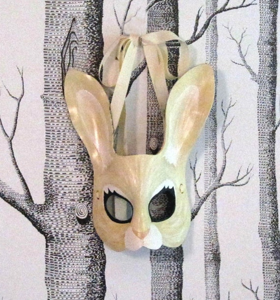 Rabbit Leather Mask, Adult Size - Made to Order ECO-FRIENDLY Holiday