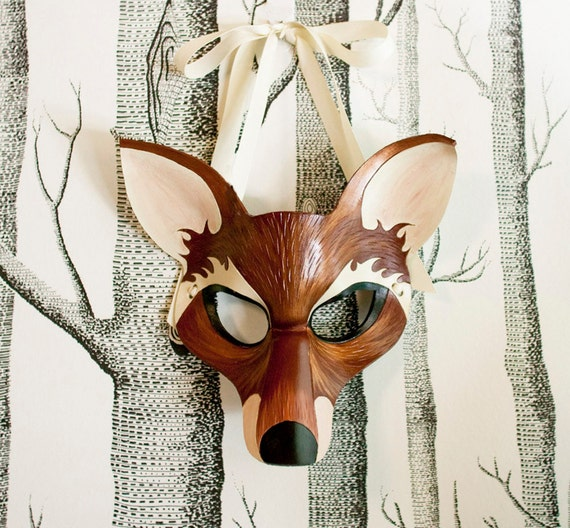 Fox Leather Mask, Adult Size - Made to Order ECO-FRIENDLY Holiday