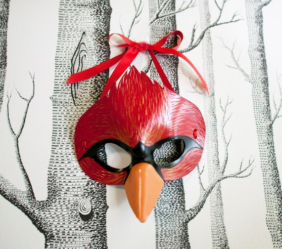 Cardinal Leather Mask, Adult Size - Made to Order ECO-FRIENDLY Holiday
