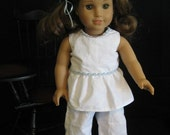 American Girl Pajamas styled for Rebecca Rubin - White with Blue Trim