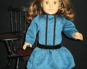 Teal Dress with Black Trim fits American Girl, Rebecca