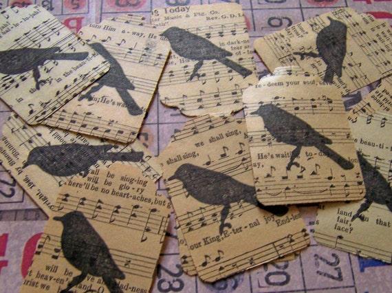 10 BLACK BIRD OVER VINTAGE MUSIC SHEET TAG