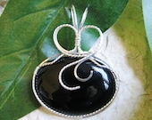 Black Onyx Silver Wire Wrapped Pendant