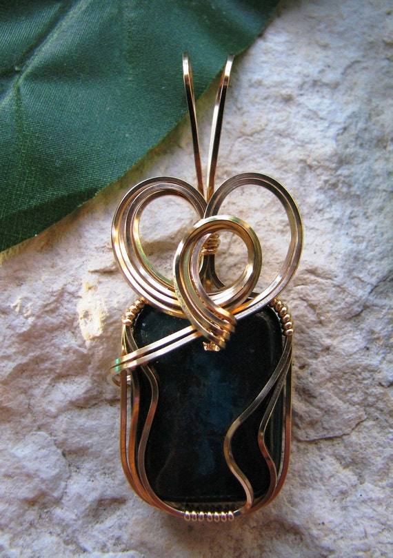 Apatite Gold Wrapped Pendant