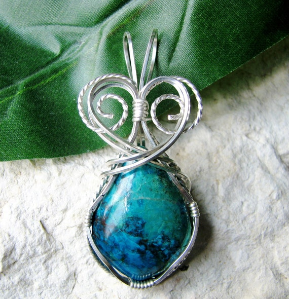 Chrysocolla Silver Wire Wrapped Pendant