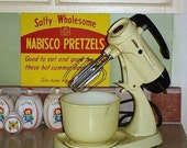 Retro Vintage Sunbeam Electric Mixer and Bowl Yellow Sunshine Art Deco Kitchy Kitchen Chic Cottage Appliance