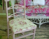 Vintage Cottage Folding Chair Pink Roses Painted Mahogany Garden Decor
