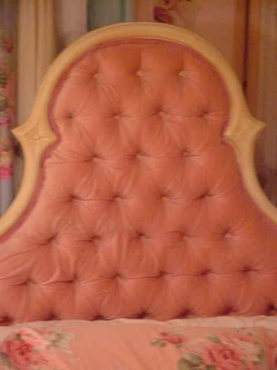 Vintage Pink Velvet Tufted Headboard Bed Romantic Old