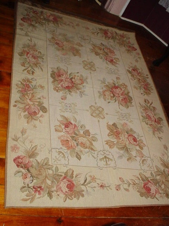 Handmade Pink Cabbage Roses Aubusson Needlepoint Rug Romantic