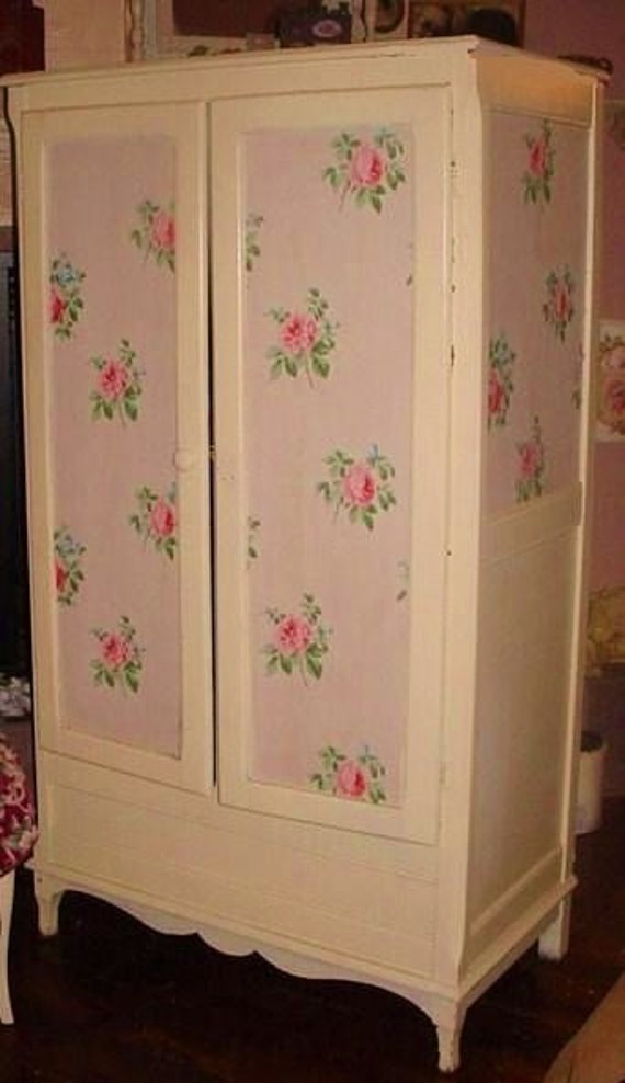 Charming Vintage Roses Wallpaper Armoire By Rustyrosepetals