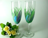 Hand Painted Flute Wine Wedding Champagne Glasses Set of 2 Green Meadow Grass