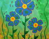 Whimsical Blue Flower Painting on Canvas 18x18