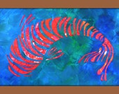 Koi Fish Painting,Textured Original Painting on Canvas 24x12 Modern Contemporary Wall Art Painting, Home Decor, Made to Order