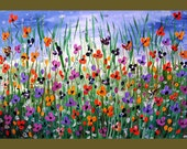 Poppy Flower Field Textured Original Painting on Canvas 36x24 Wall Art Painting, Made to Order