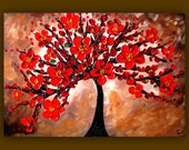 On Sale Red Flower Painting, Red Tree Painting, Textured Original Painting on Canvas 36x24 Wall Art Painting Home Decor