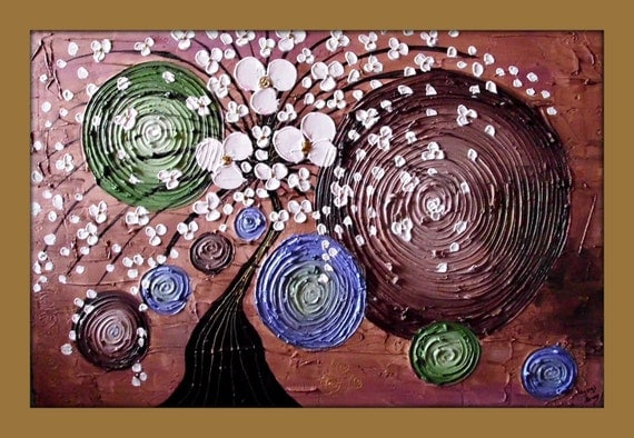 Tree and Circles Painting Textured Original Painting on Golden Canvas 36x24 Wall Art Painting Home Decor