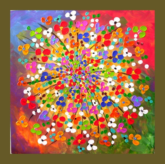 On Sale, Limited Time--Textured Original Painting 24x24 Flower Painting, Circle of Flowers, Ready to Hang, Ready to Ship