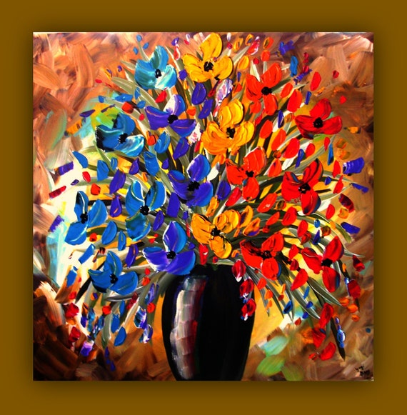 On Sale--Limited Time--Priced as Marked--Colorful Flowers in Vase Painting, Textured Flower Painting on Canvas 24x24, Flower Wall Art