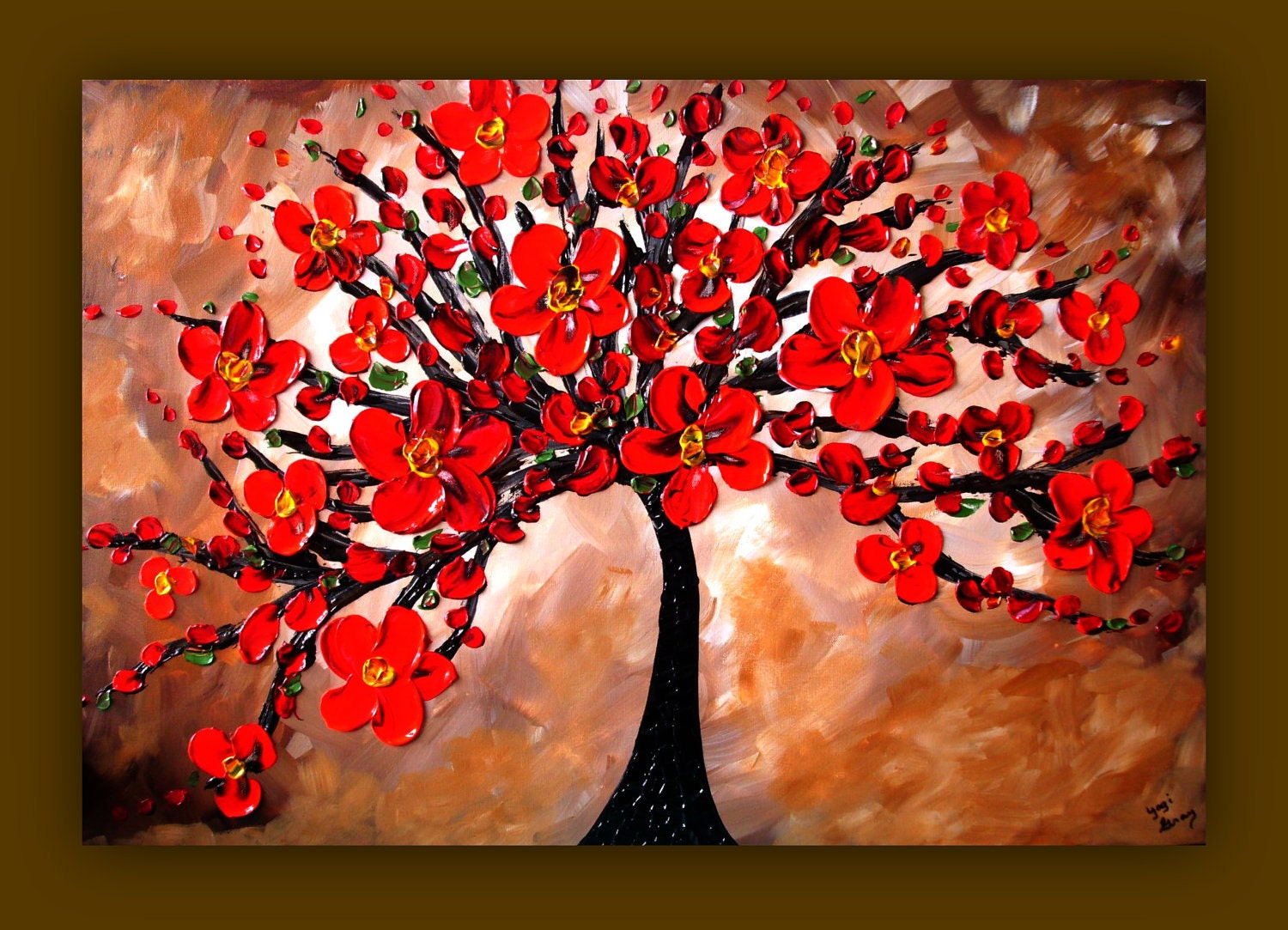 On Sale Red Flower Painting Red Tree Painting Textured
