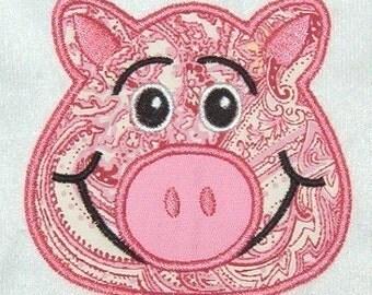 Pig Face Machine Embroidery Applique Design