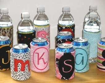 Easy Quilted Monogram Can - Bottle Wraps 6x10 Hoop - Machine Embroidery