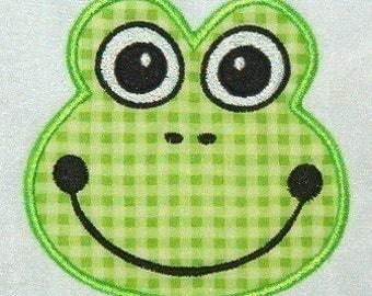 Frog Face Applique Machine Embriodery Design