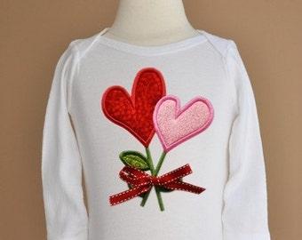 Heart Flower Applique in 4 sizes