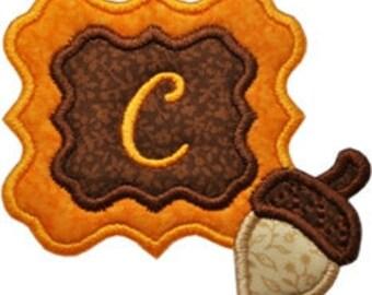 Fall Acorn Monogram Applique Font Frame